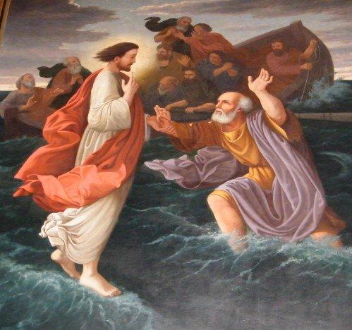 Jésus marchant sur l'eau - église Saint-Trojan _ Oléron