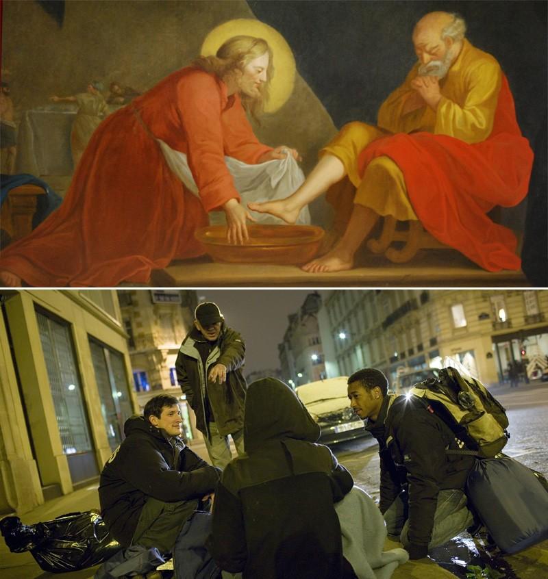 Le Lavement des pieds, église d'Artonges (Aisne) Une maraude à la rencontre des sans-abri dans Paris par l'association Emmaüs